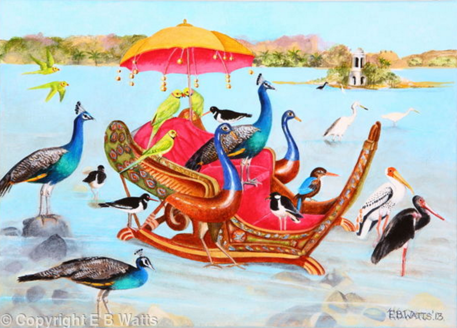 Congregation Of Birds With Peacock Howdah