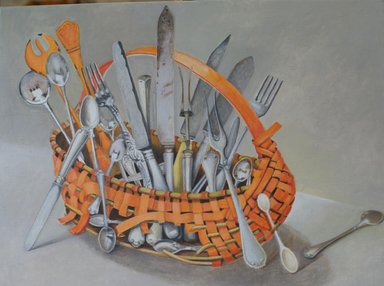 Cutlery in a Basket