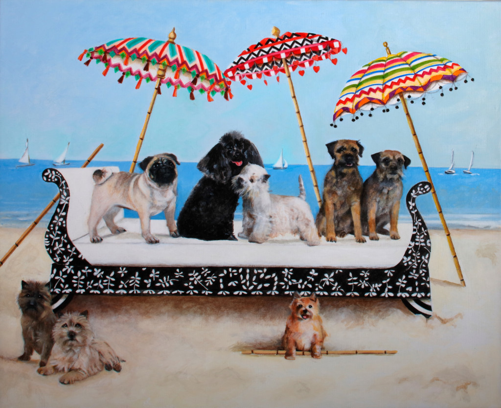 Small Dogs On A Day Bed Greetings Card © EBWatts