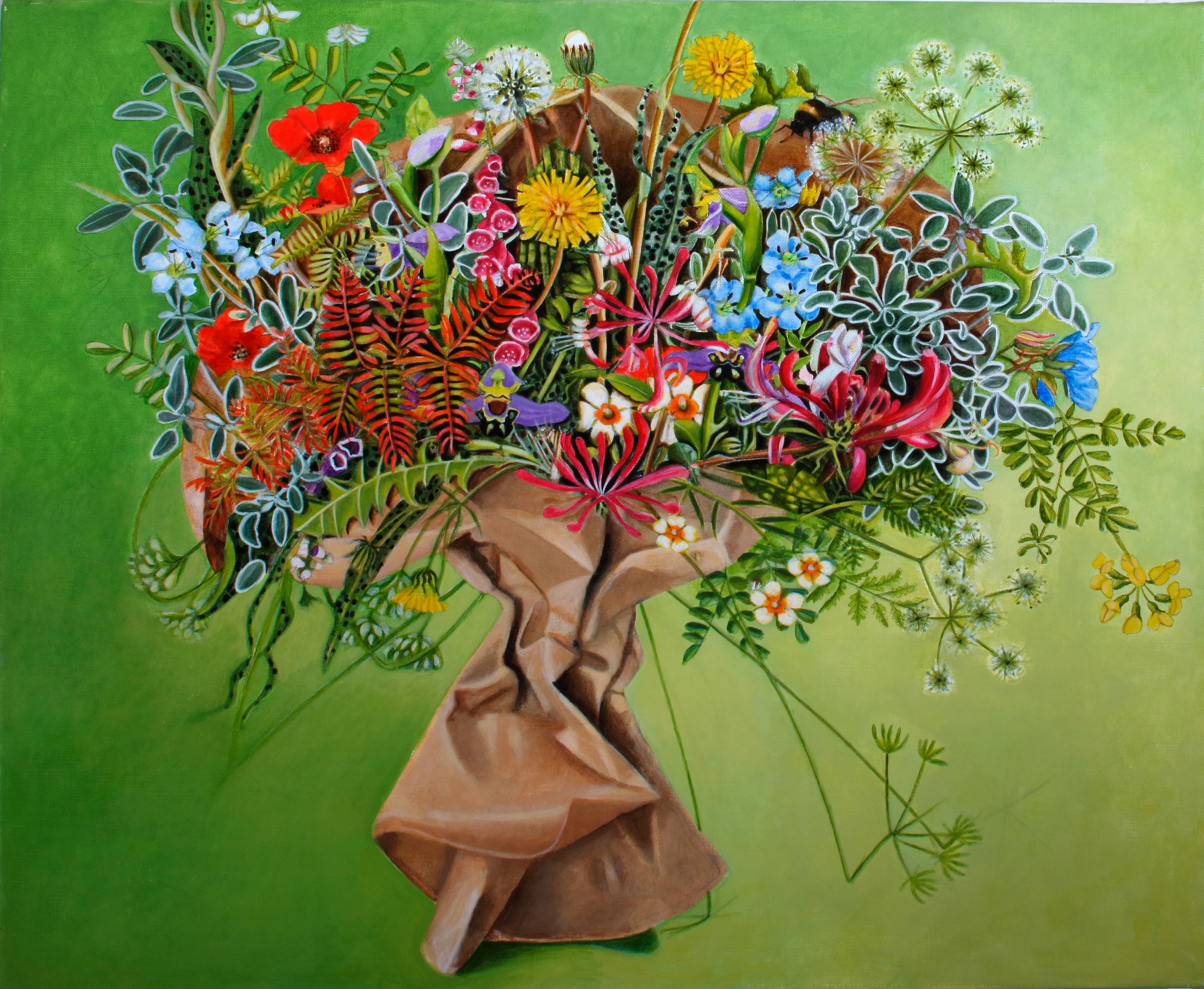 Brown Paper Bouquet Painting by EBWatts