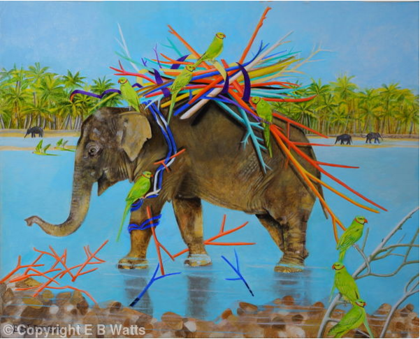Indian Elephant With Coloured Sticks