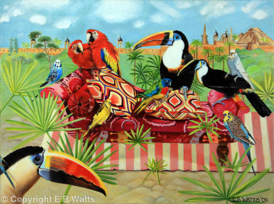 Macaws On Chaise Longue