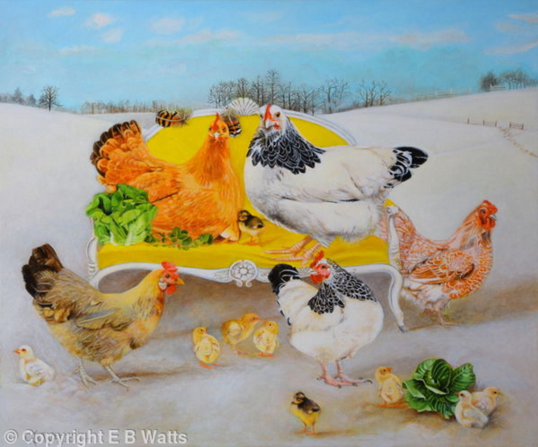 Hens On A Yellow Sofa