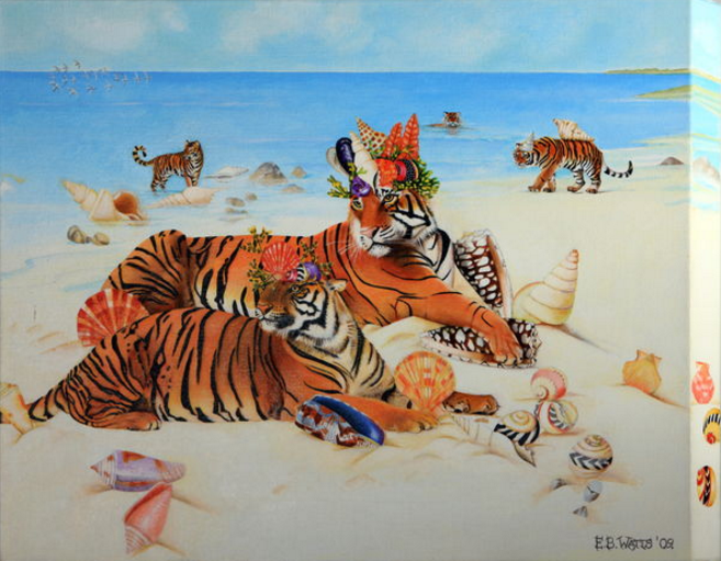 Tigers With Shell Crowns by EB Watts