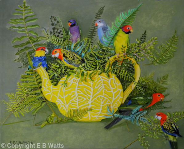 Yellow Teapot With Parakeets by EBWatts