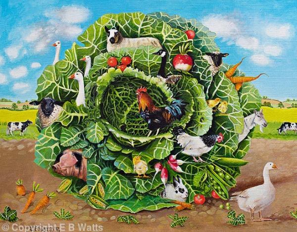 Farmyard Cabbage Jigsaw Puzzle © EBWatts