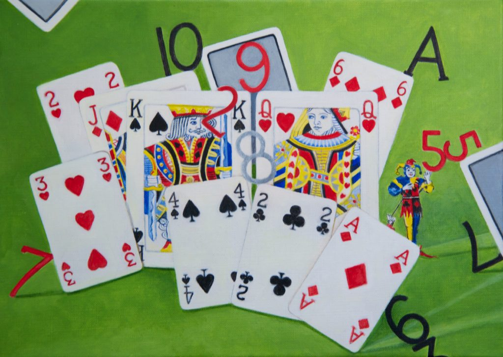 Cards With Joker Acrylic Painting by EBWatts