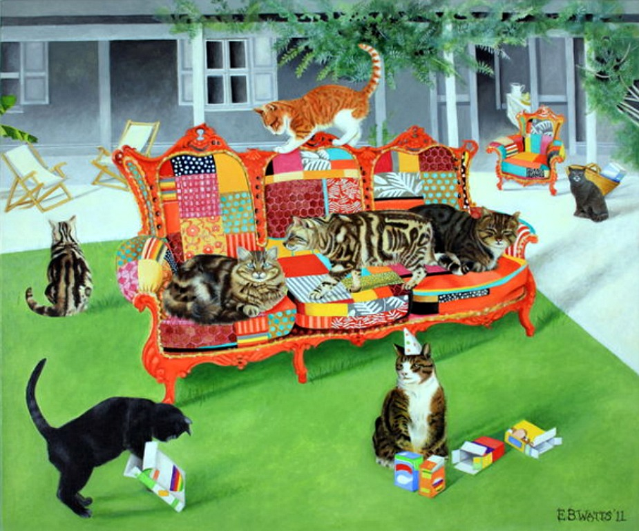Cats on a Patchwork Sofa Greetings Card © EBWatts