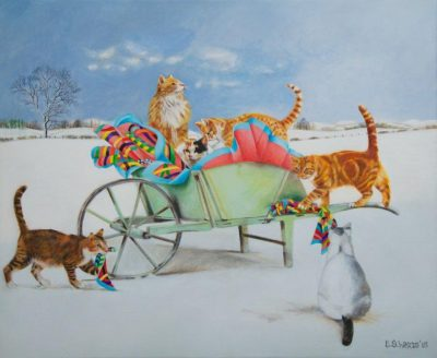 Cats With A Wheelbarrow by Artist EB Watts