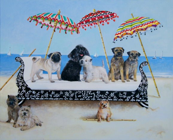 Small Dogs On A Day Bed - Artist EBWatts