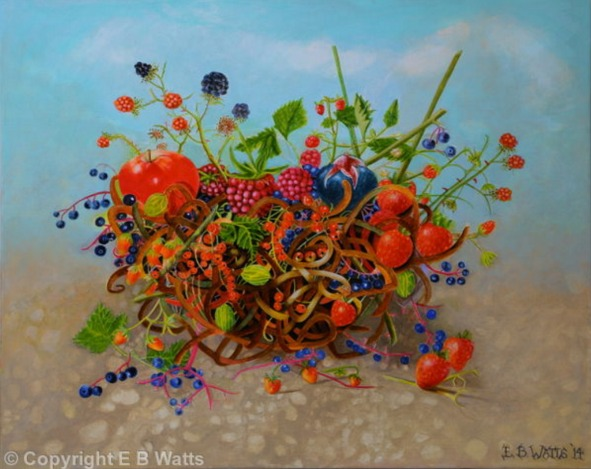 Small Fruits In A String Basket Acrylic Painting by EBWatts