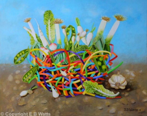 White Vegetables In A Rainbow Basket by EBWatts, Artist