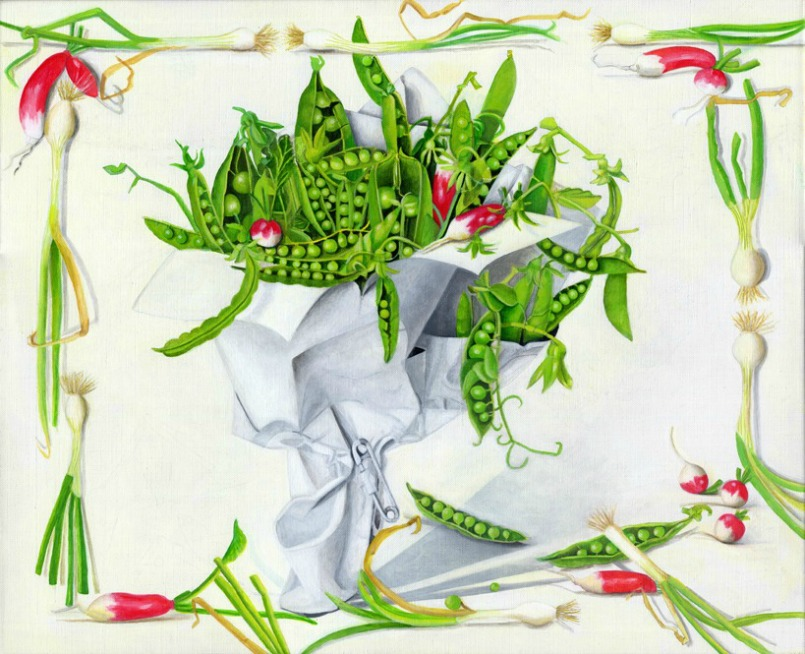 Peas Wrapped in White Paper by Artist EB Watts
