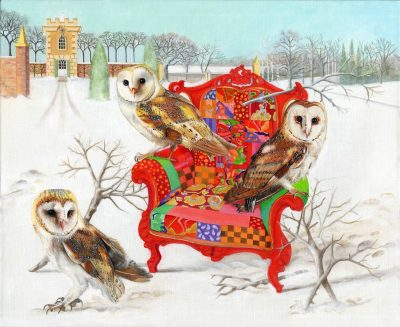 Owls on Patchwork Chair