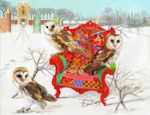 Barn Owls On A Patchwork Chair
