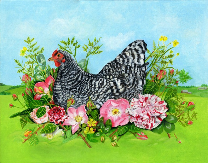 Chicken in Bed of Roses | Painting by EB Watts