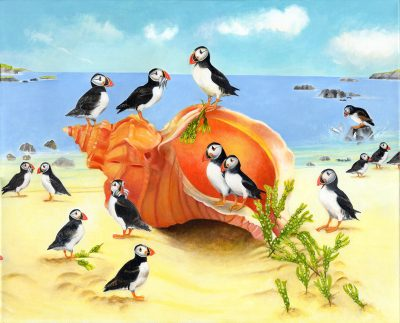 Puffins with Shell Acrylic on Canvas Painting