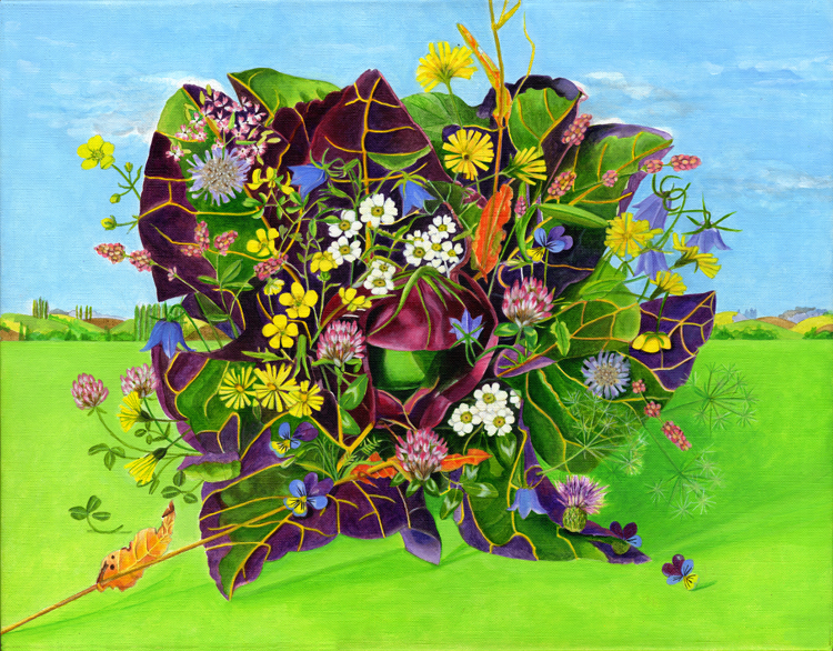Wild Flowers on an English Rosedale Lettuce Painting