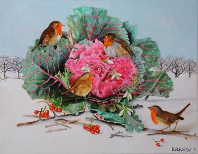 Ornamental Cabbage with Robins Acrylic Painting by EB Watts