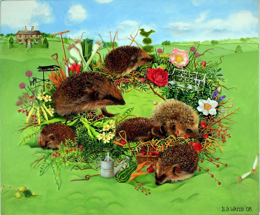 A Garden Wreath With Hedgehogs