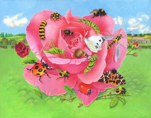 Rose with Insects Acrylic Painting On Canvas