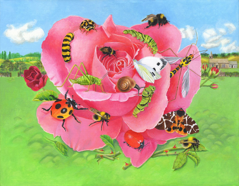 Rose with Insects Acrylic Painting