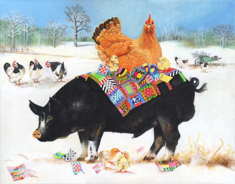 Berkshire Pig with Chickens | Acrylic Painting