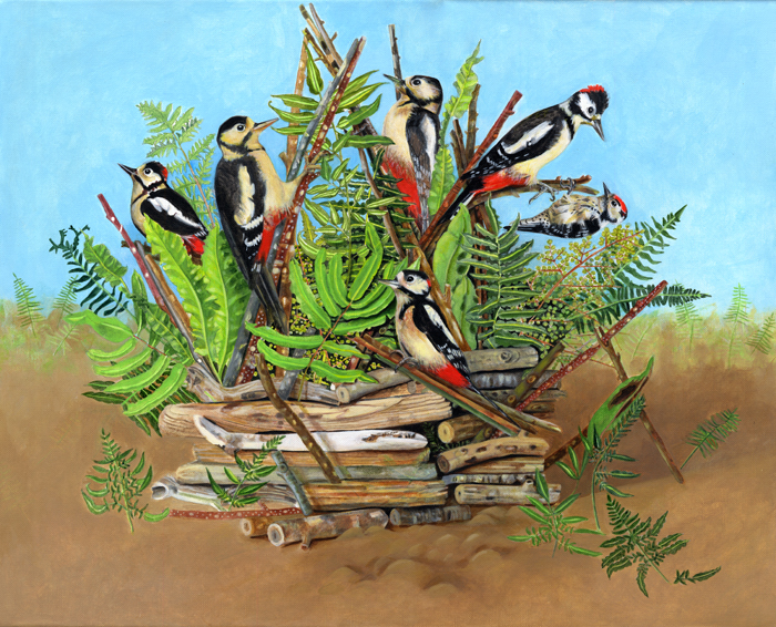 Woodpeckers Peck by Artist EB Watts