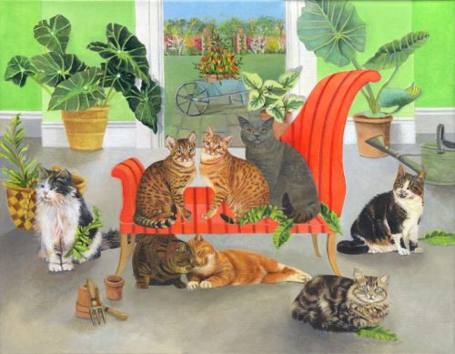 Cats in the Plant Room - EB Watts Acrylic Painting