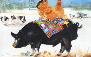 Berkshire Pig with Chickens - Greetings Card