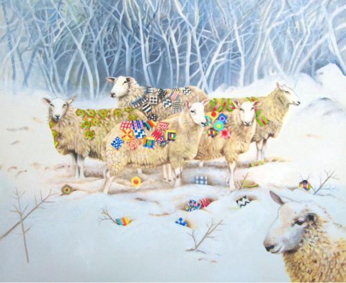 Sheep with Patchwork Greetings Card