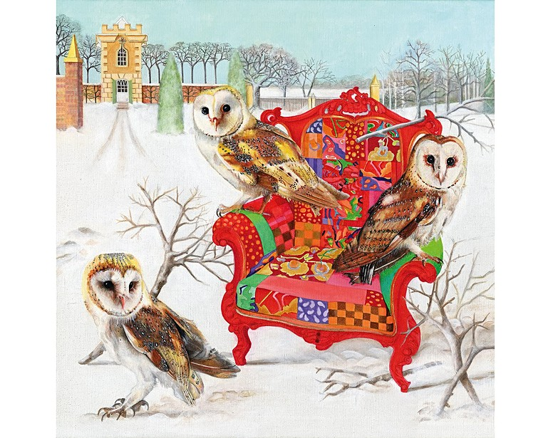Owls On Patchwork Chair - Jigsaw Puzzle