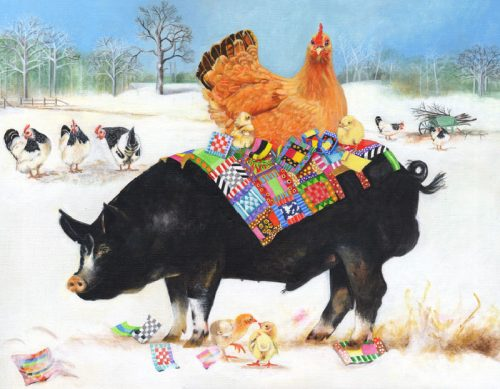 Berkshire Pig with Hen - Card