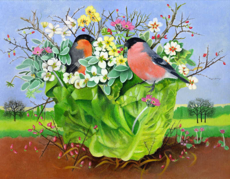 Vegetable Garden Bullfinches Card