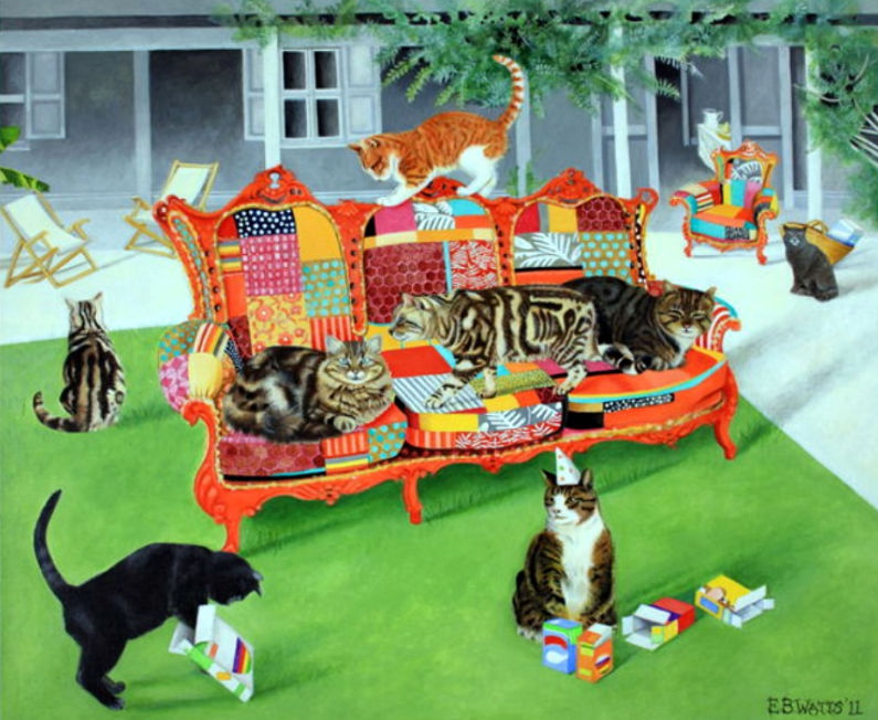 Cats on Patchwork Sofa Greetings Card