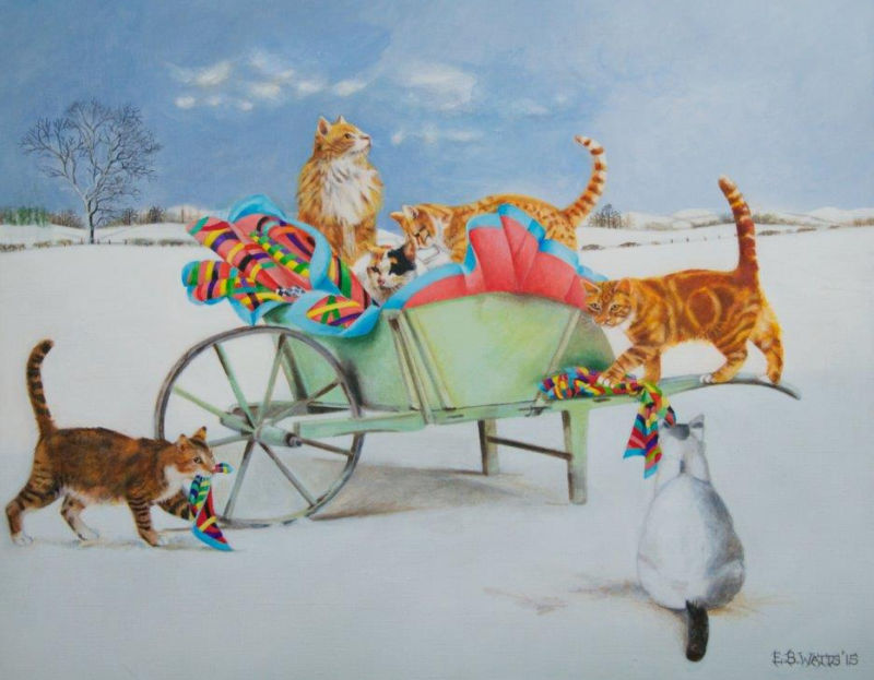 Cats on a Wheelbarrow Card