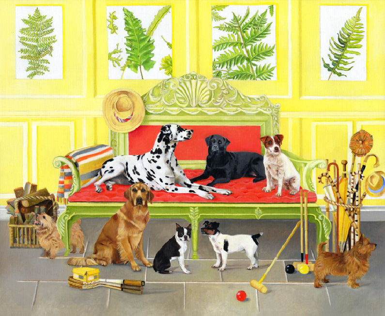 Dogs in Games Room Greetings Card