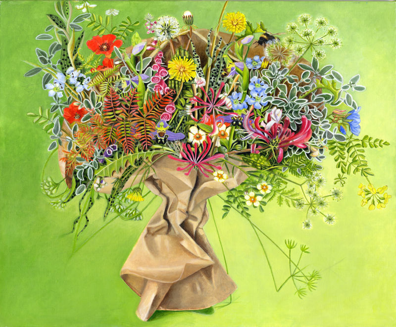 Brown Paper Bouquet Acrylic Painting