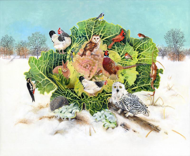 Winter Cabbage with Snowy Owl-Acrylic Painting On Canvas