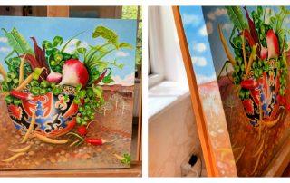 Radish Upside Down Hilltribe Cap - Acrylic on Canvas Painting