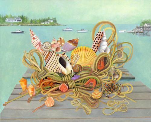 Rope, Shells and Jetty - Original Acrylic Painting